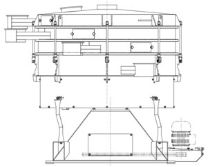 Illustration of a tumbler screening machine in a profile view